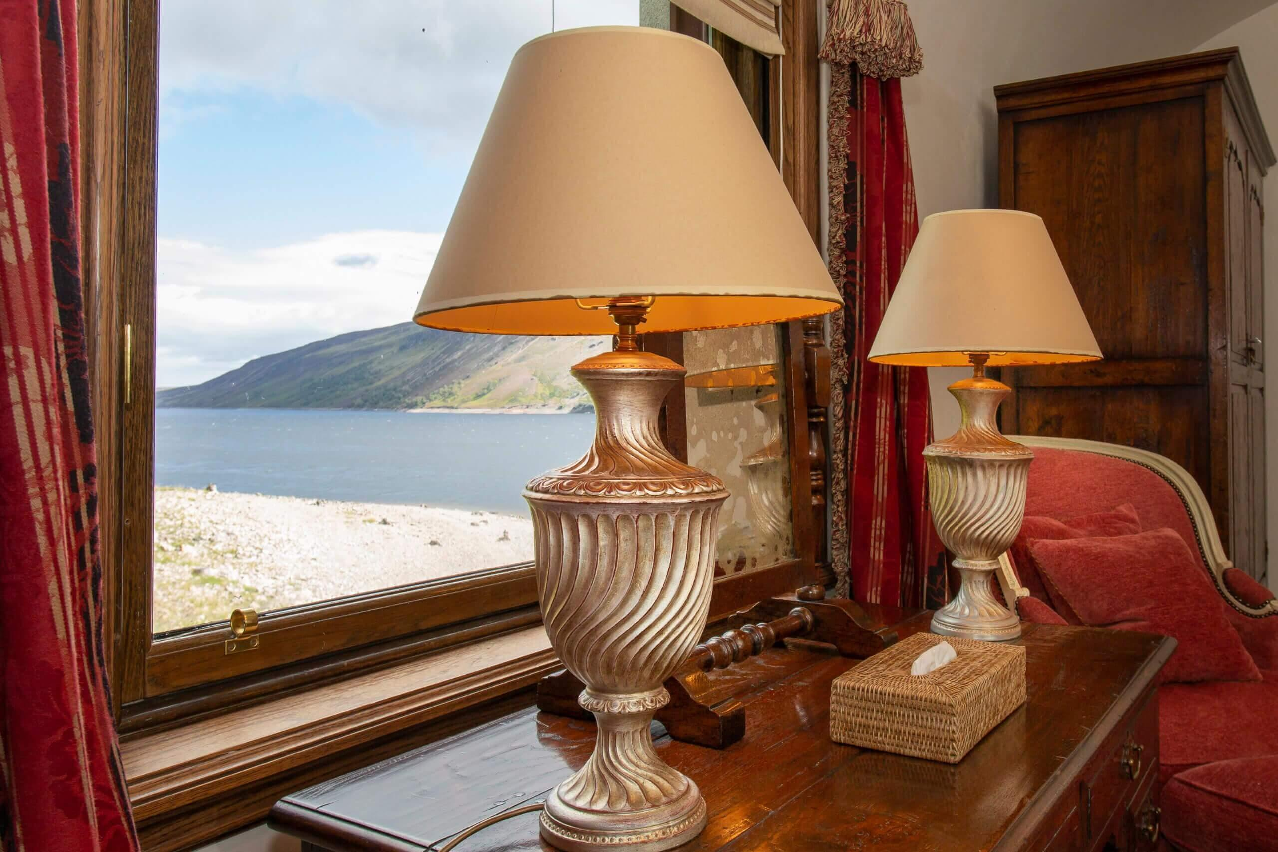 Spectacular views over Loch Ericht from each bedroom in the lodge