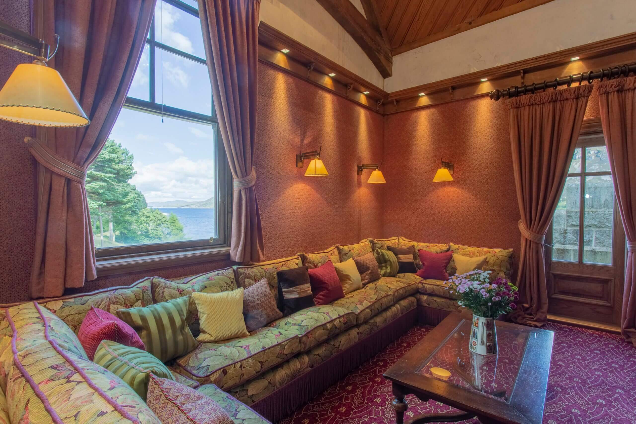 Breath taking view of Loch Ericht from the Gate Lodge television room