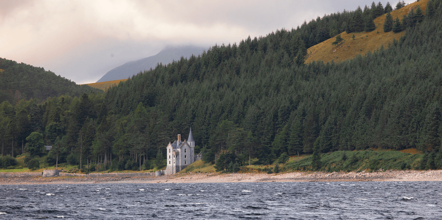 A view across Loch ericht of the Gate Lodge