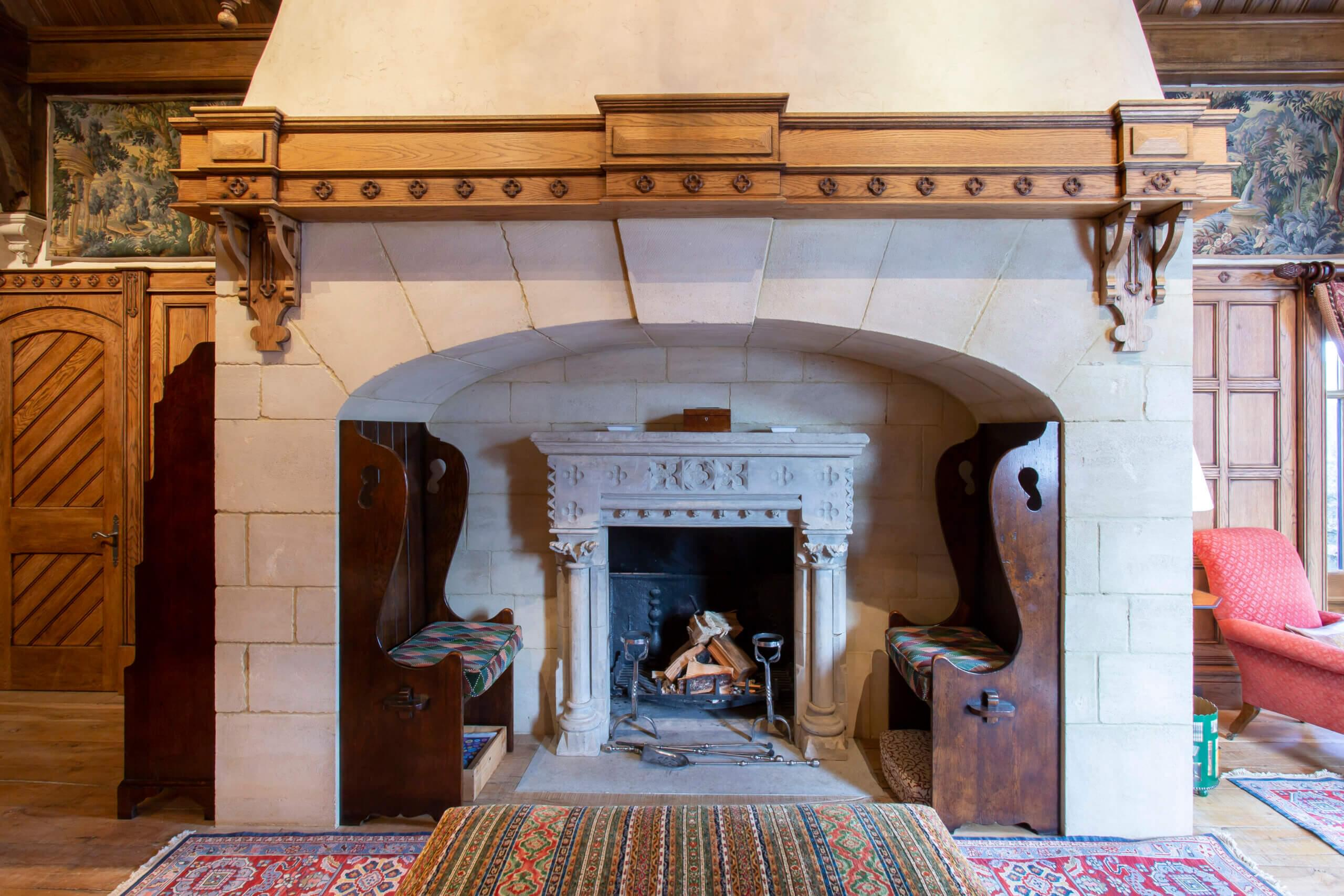 Fireplace within the gate lodge