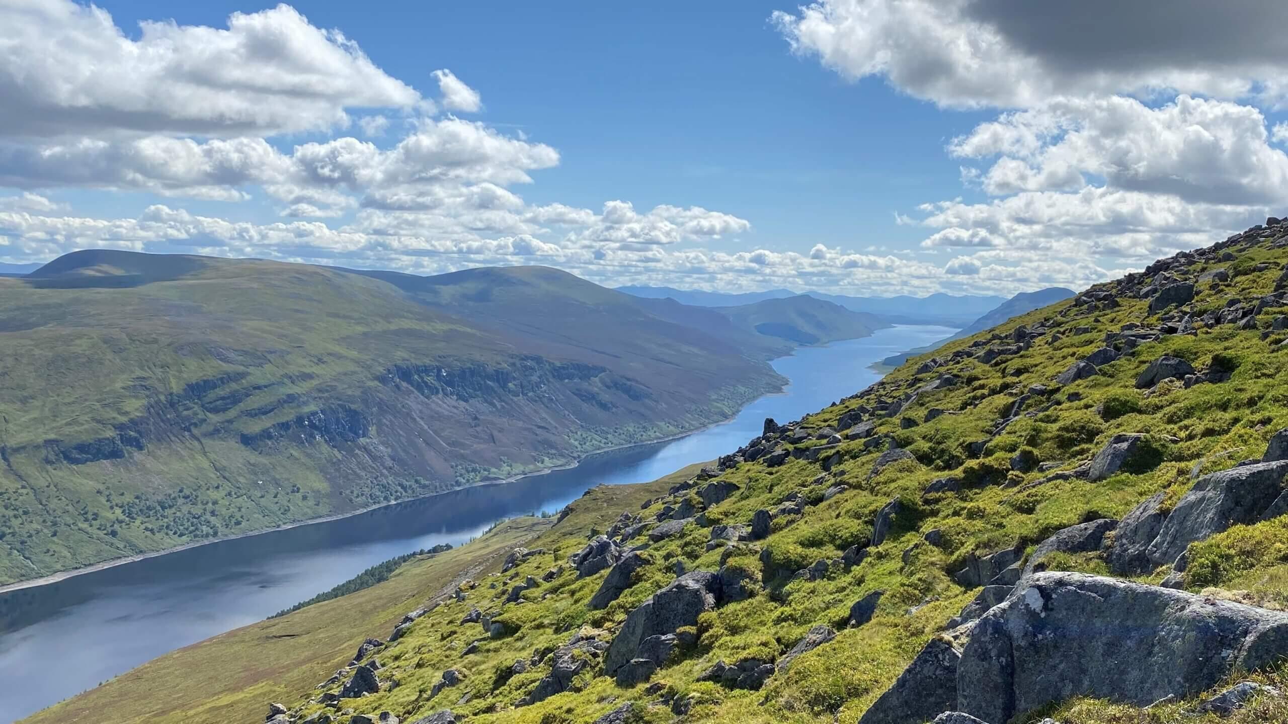 A stunning view across Loch Ericht within the Ben Alder Estate